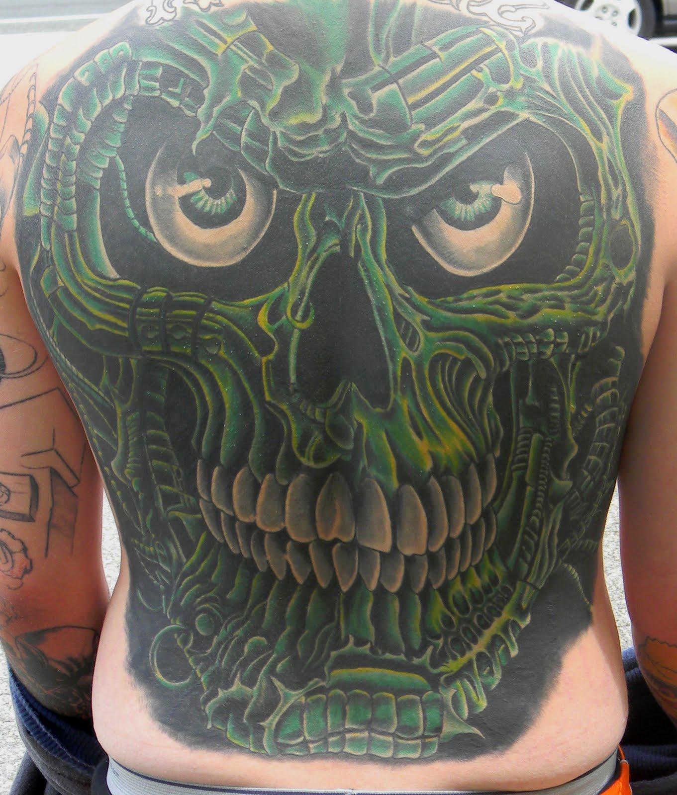 Skull Back Piece: Drew Baker Tattoos: Skull Back Piece