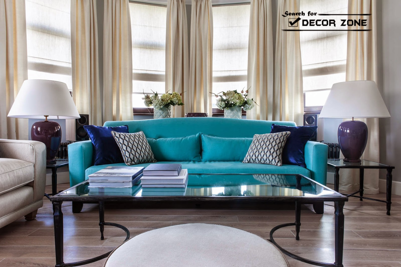Contemporary Living Room Furniture   Turquoise Sofa And White Chairs