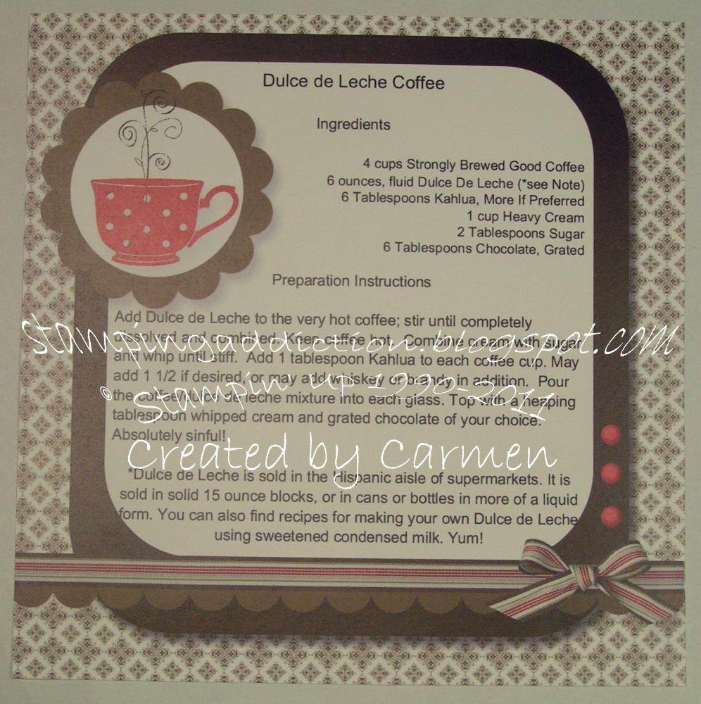Stamping addiction 6x6 my digital studio recipe page for Dulce coffee studio