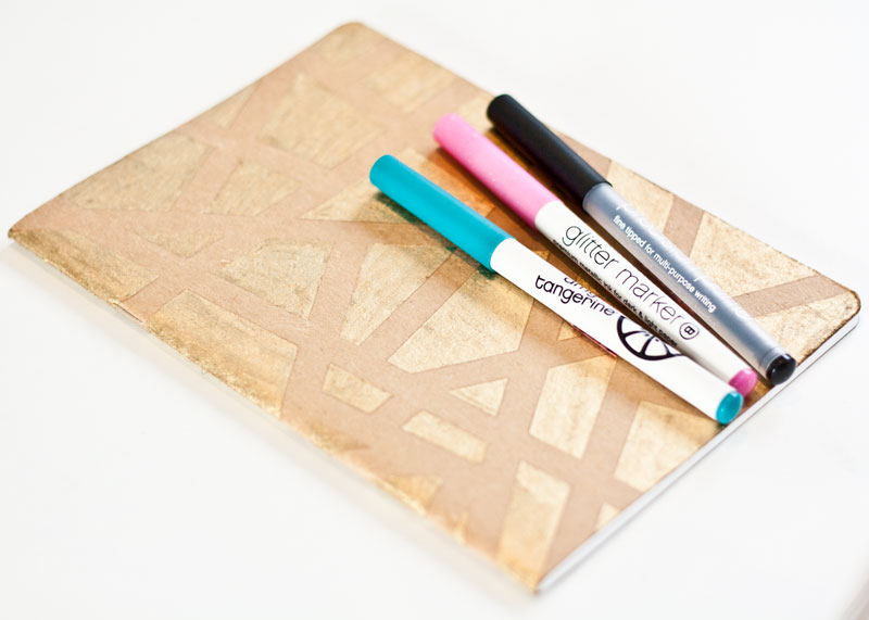 decorated notebook in gold