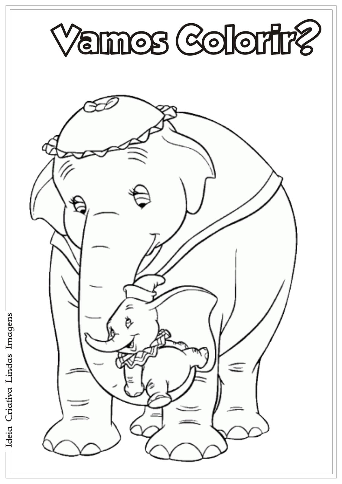 Dumbo desenho para colorir