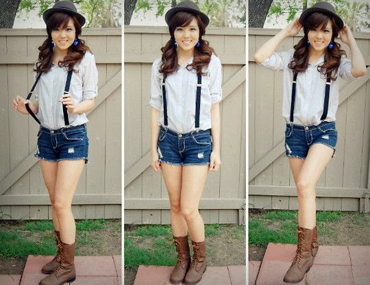 cute outfits brown combat boots with shorts