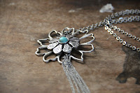 Turquoise Flower Pendant Necklace by hotGlued