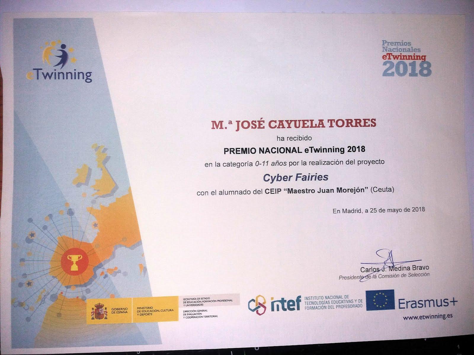 Premio Nacional eTwinning 2018 para Cyber Fairies.