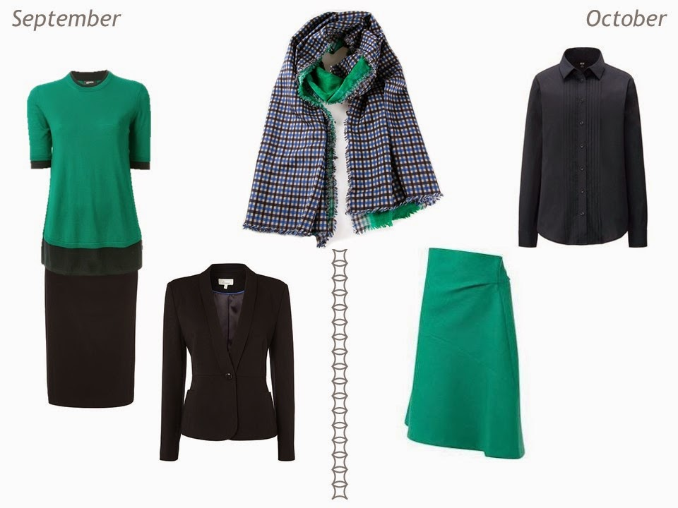 navy and green outfits for autumn September and October
