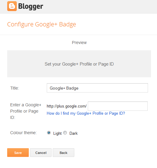 configure Google+ badge