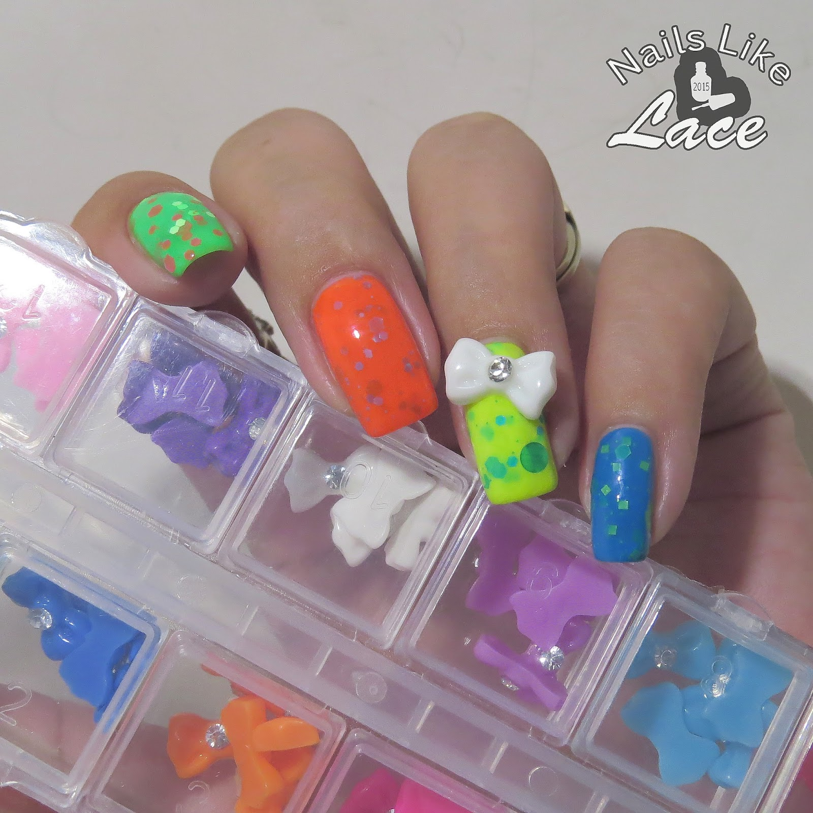 NailsLikeLace: Neon Skittles with 3D Bows: Lady Queen Nail Decor Review
