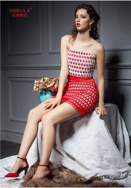 szydelkowa mini sukienka
