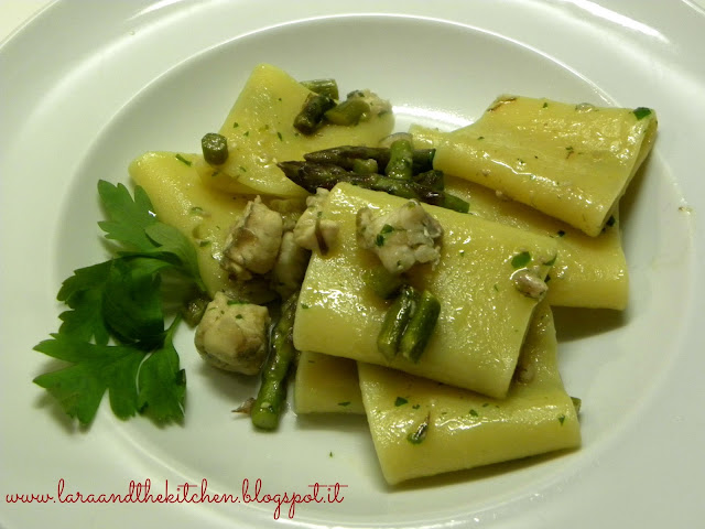 paccheri asparagi e gallinella