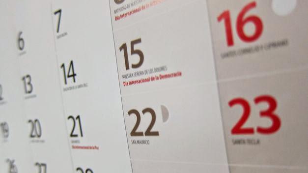 feriados, puentes calendario laboral dias festivos en España -  Madrid, Valencia, Barcelona 2015