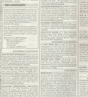 Gay relationship ad in 1987 'The Advocate' magazine