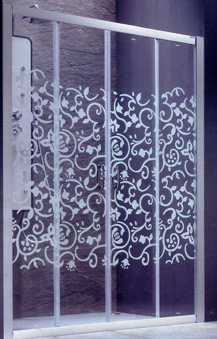 Puertas De Baño Acrilico:ARENADO DE MAMPARAS DECORATIVAS: VINILO ARENADO EMPAVONADO EN MAMPARAS