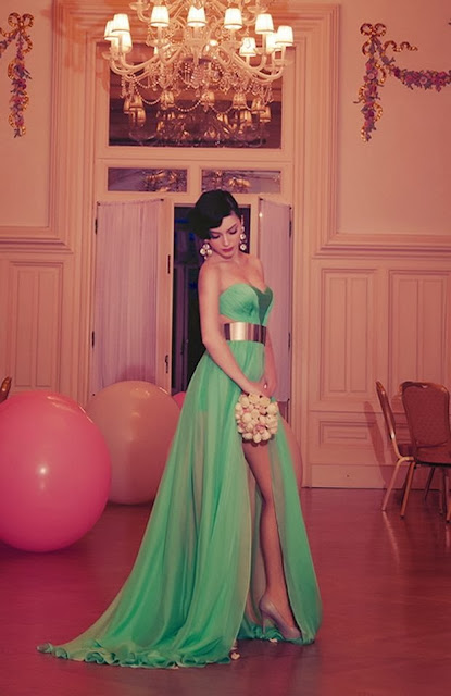 Sea Green Color Gown With Belt