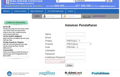 halaman pendaftaran situs resmi kemdikbud untuk download BSE