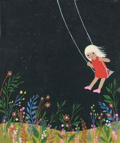 girl on a swing illustration by Julie Mostad