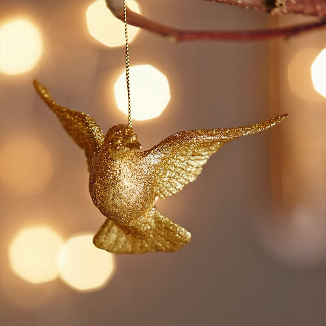 Graham and Green Gold Glitter Dove Christmas Tree Decoration