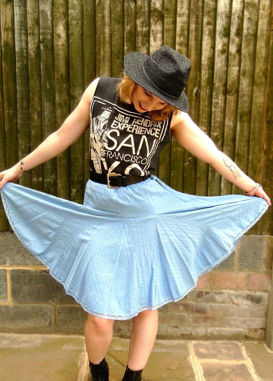 midi skirt, bohemian, rock chick, doctor martin's, dm's, bowler hat, choker