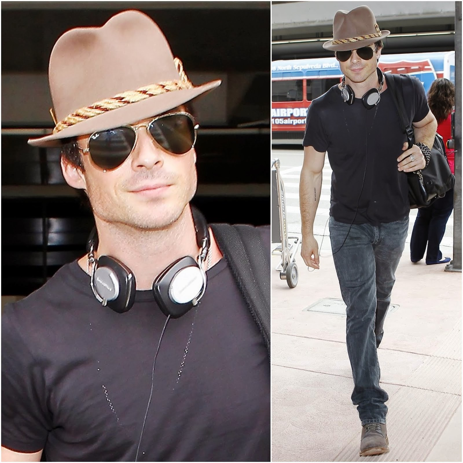 00O00 Menswear Blog: Ian Somerhalder's Bowers & Wilkins P5 headphones and Ray-Ban Aviator Sunglasses - LAX Airport July 2013