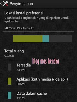 Penampakan Memori Internal yang hanya 1GB - Blog Mas Hendra
