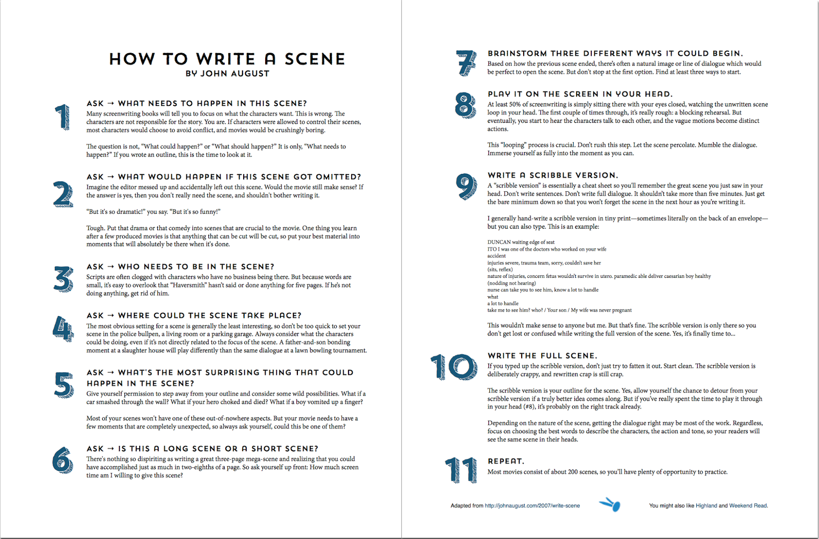 http://johnaugust.com/wp-content/uploads/2014/06/how-to-write-a-scene.pdf