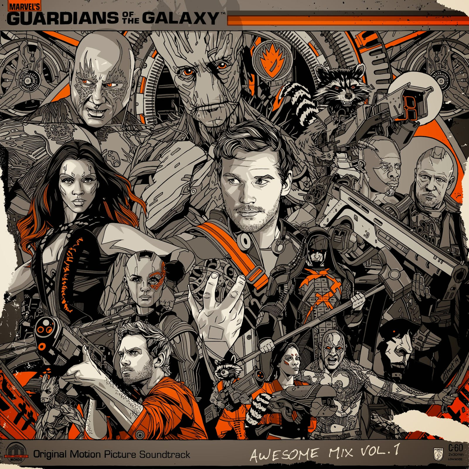 Guardians of the Galaxy Soundtrack Deluxe Vinyl LP with Cover Artwork by Tyler Stout
