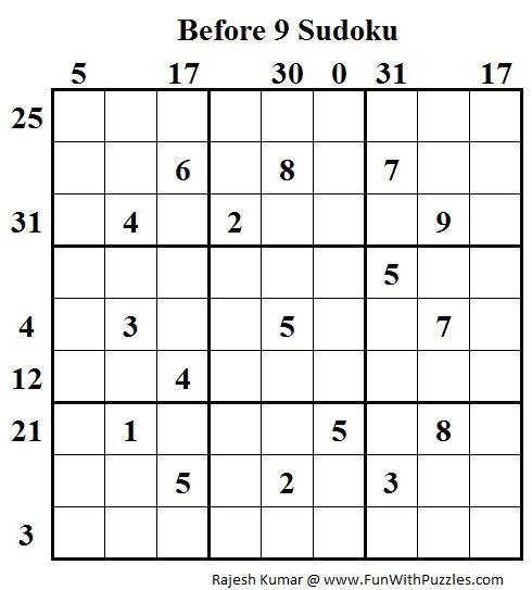 Before 9 Sudoku (Daily Sudoku League #90)