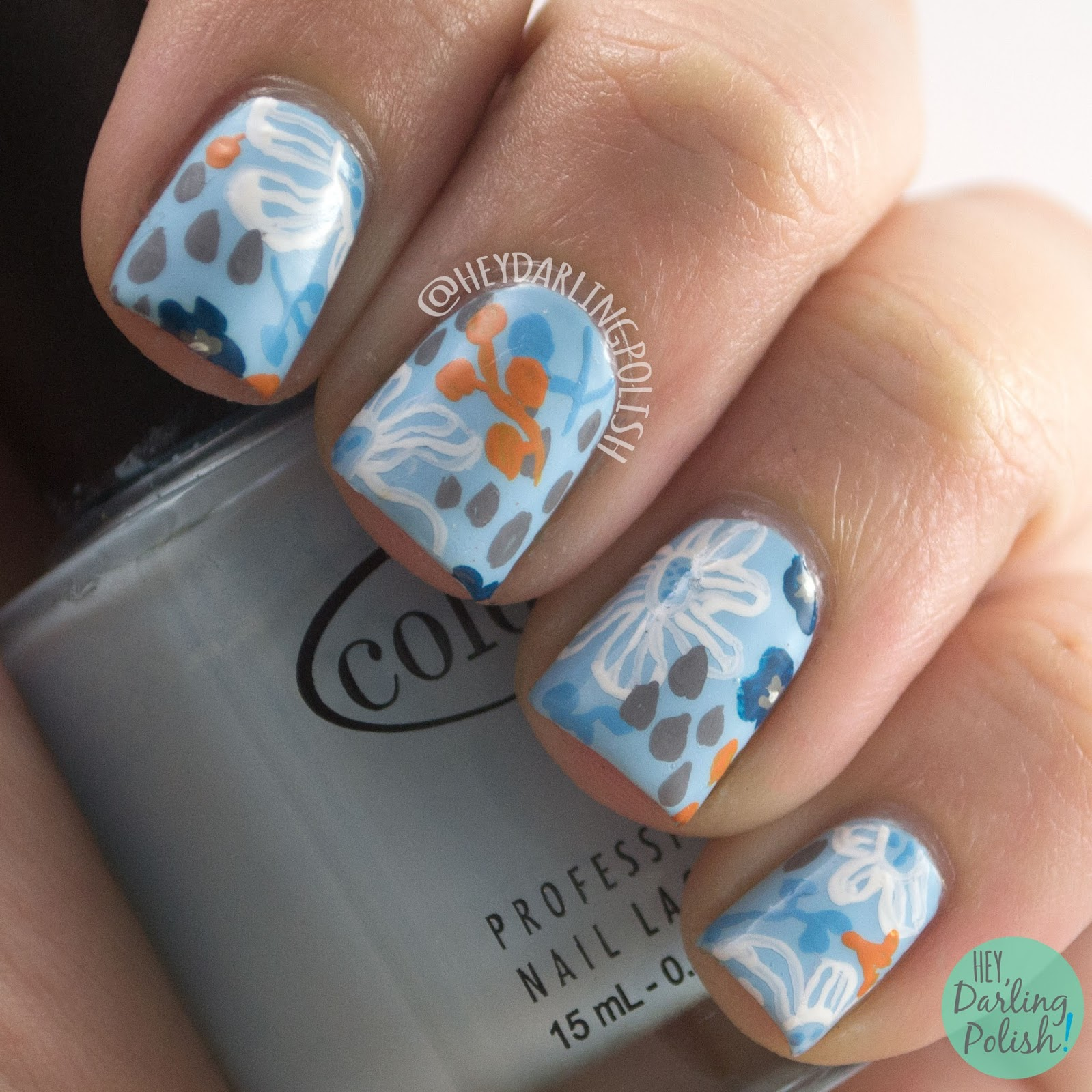 nails, nail art, nail polish, freehand, guest post, hey darling polish, pattern, floral, blue