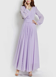 Long Sleeve Chiffon Maxi (LILAC)