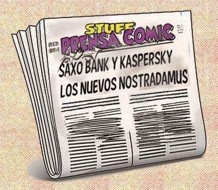 front page cómic - noticias sobre Saxo Bank y Kaspersky