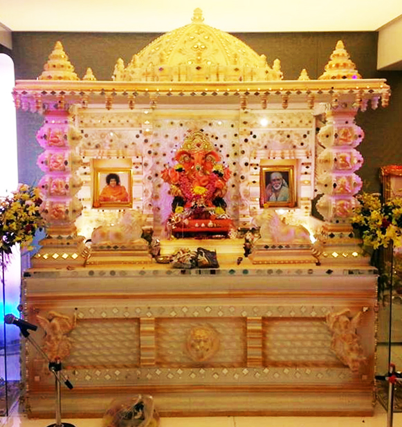 Ganapati Makhar  Navaratri decoration ideas  Mandir at home