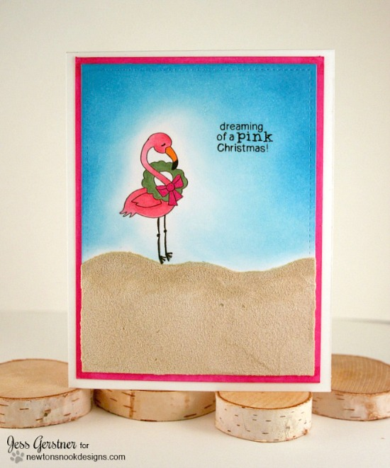 Pink Christmas Flamingo Card by Jess Gerstner | Flirty Flamingos stamp set by Newton's Nook Designs #newtonsnook #flamingo