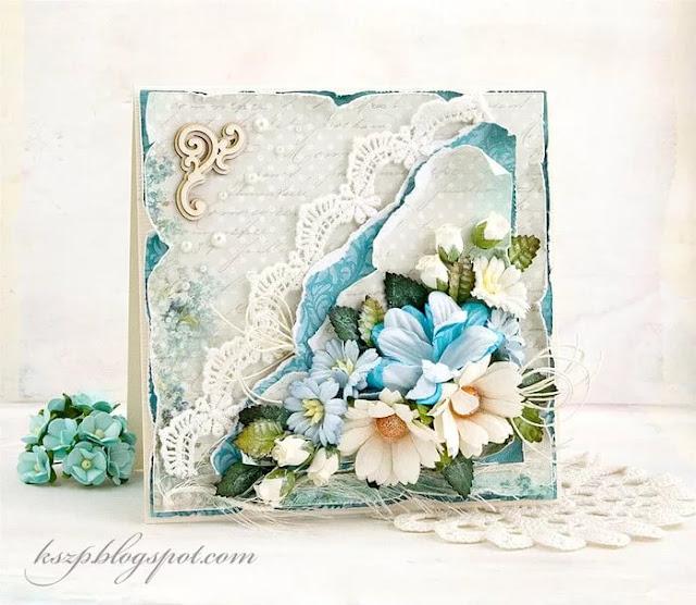 Скрапбукинг цветочная открытка 7