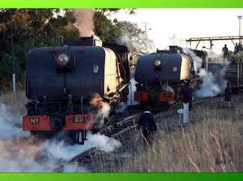Locomotoras de vapor en Zimbabwe series 611 y 424 .....