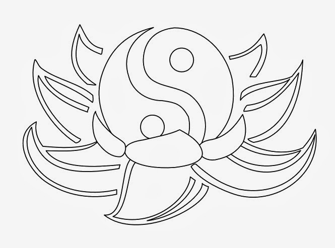 Lotus flower Yin - Yang tattoo stencil