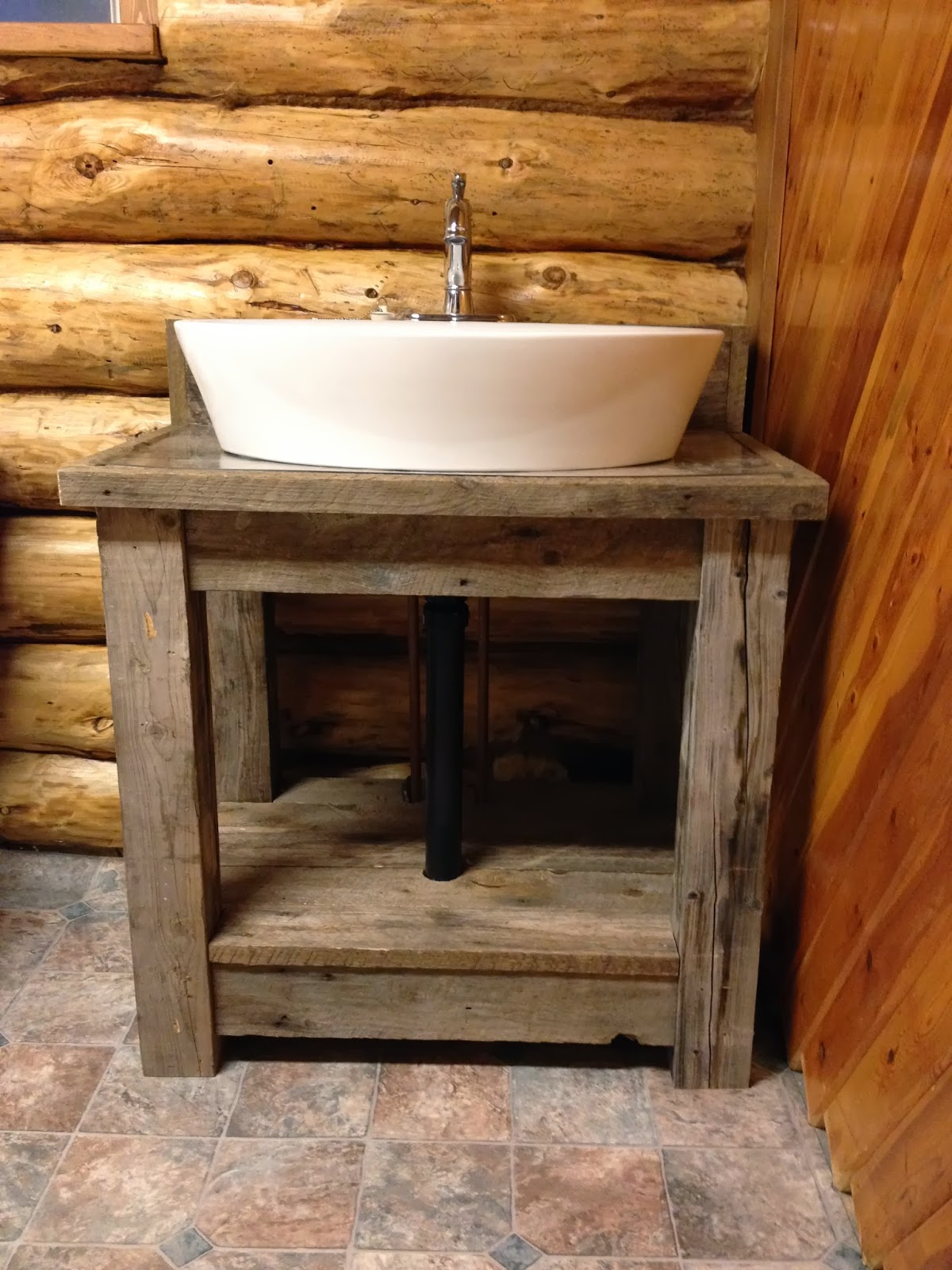 Macgirlver reclaimed wood bathroom vanity for Diy wood vanity