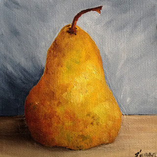 oil painting of a warm, golden pear