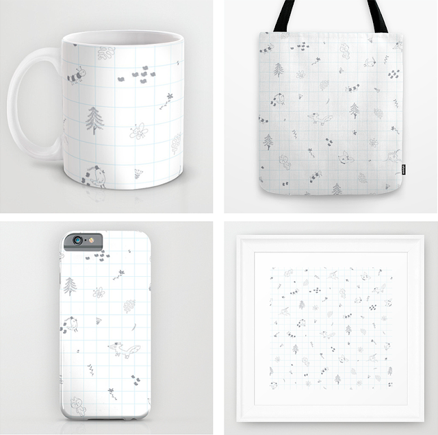 woodland, animals, cute, pattern, society6, line