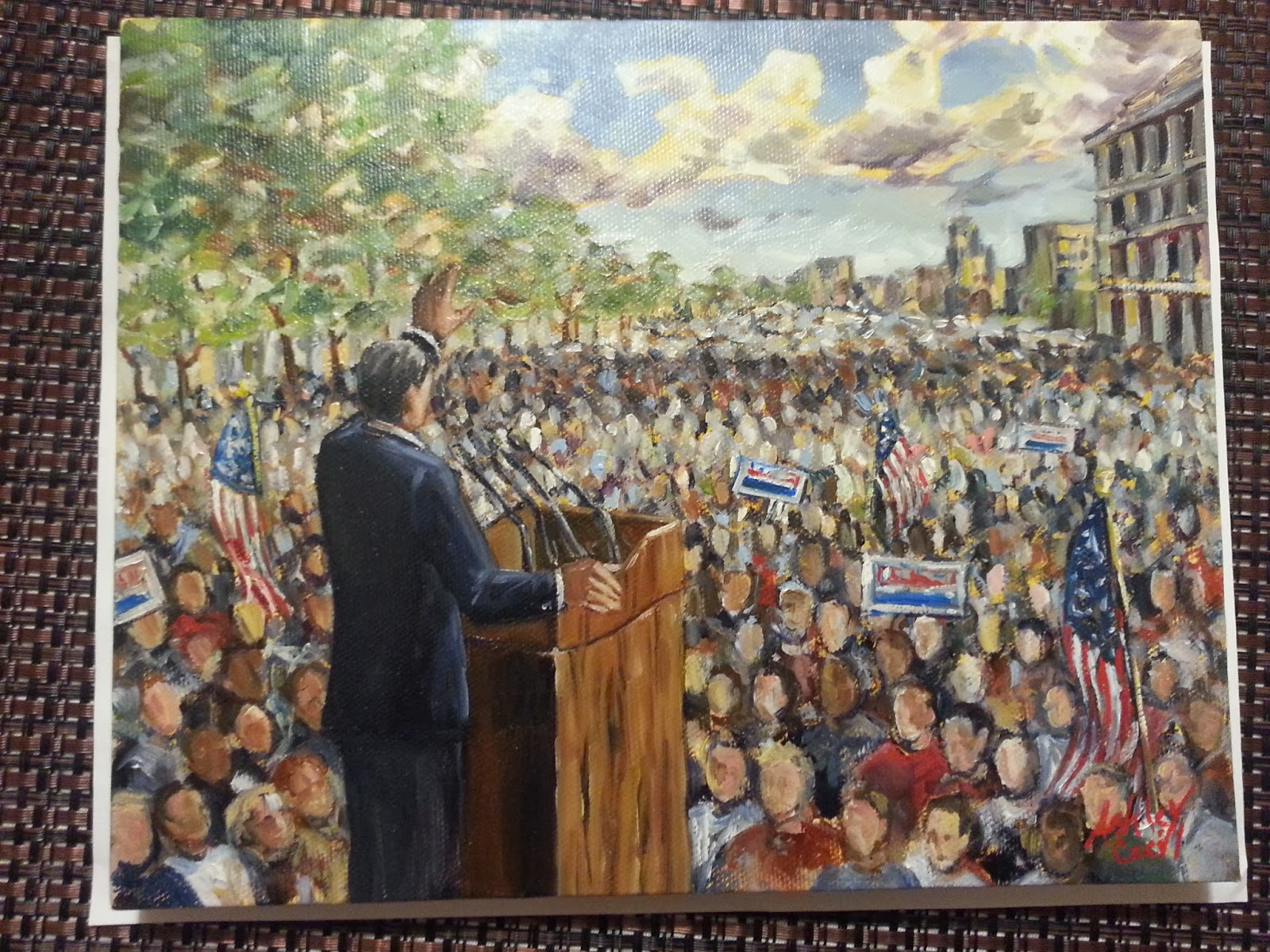 "This is a large photo of Ashley Cecil's original painting, ""Politician at a Podium."""