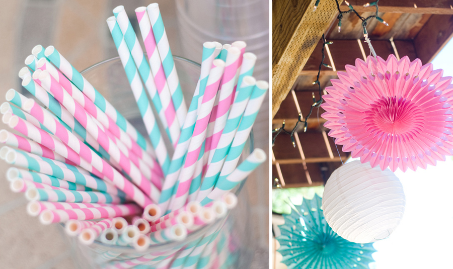 Tiffany blue themed bridal shower, vintage paper drinking straws
