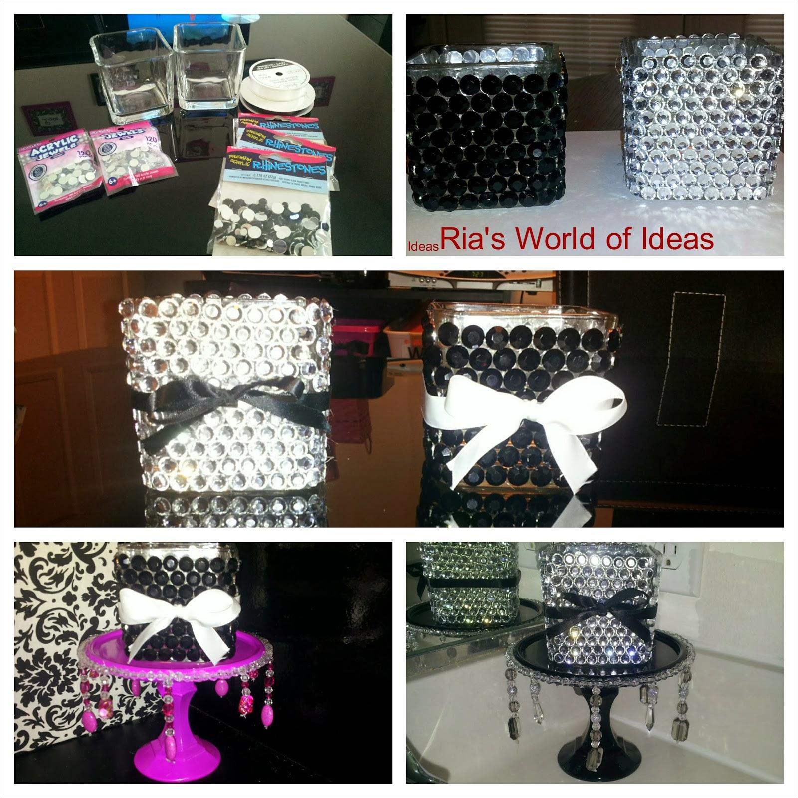 Ria 39 s world of ideas diy bling vases for Bling decor