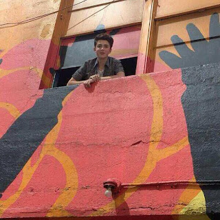Greyson Chance sticking his head out the window!