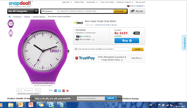 Snapdeal Breo Watch Deal