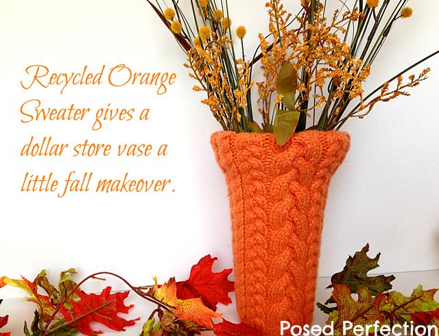 orange sweater dollar store vase makeover    Posed Perfection