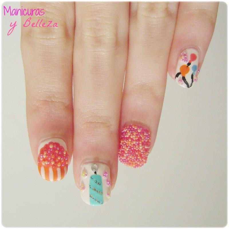 manicura caviar nails nail art cupcake vela globos aniversario cumpleaños