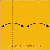Bước 1: Tạo nếp gấp cạnh giấy bằng cách gấp hai cạnh giấy vào trong, sau đó lại mở ra.