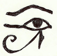 A sketch of a stylized eye (called a wedjet eye) used by ancient Egyptians to ward off evil.