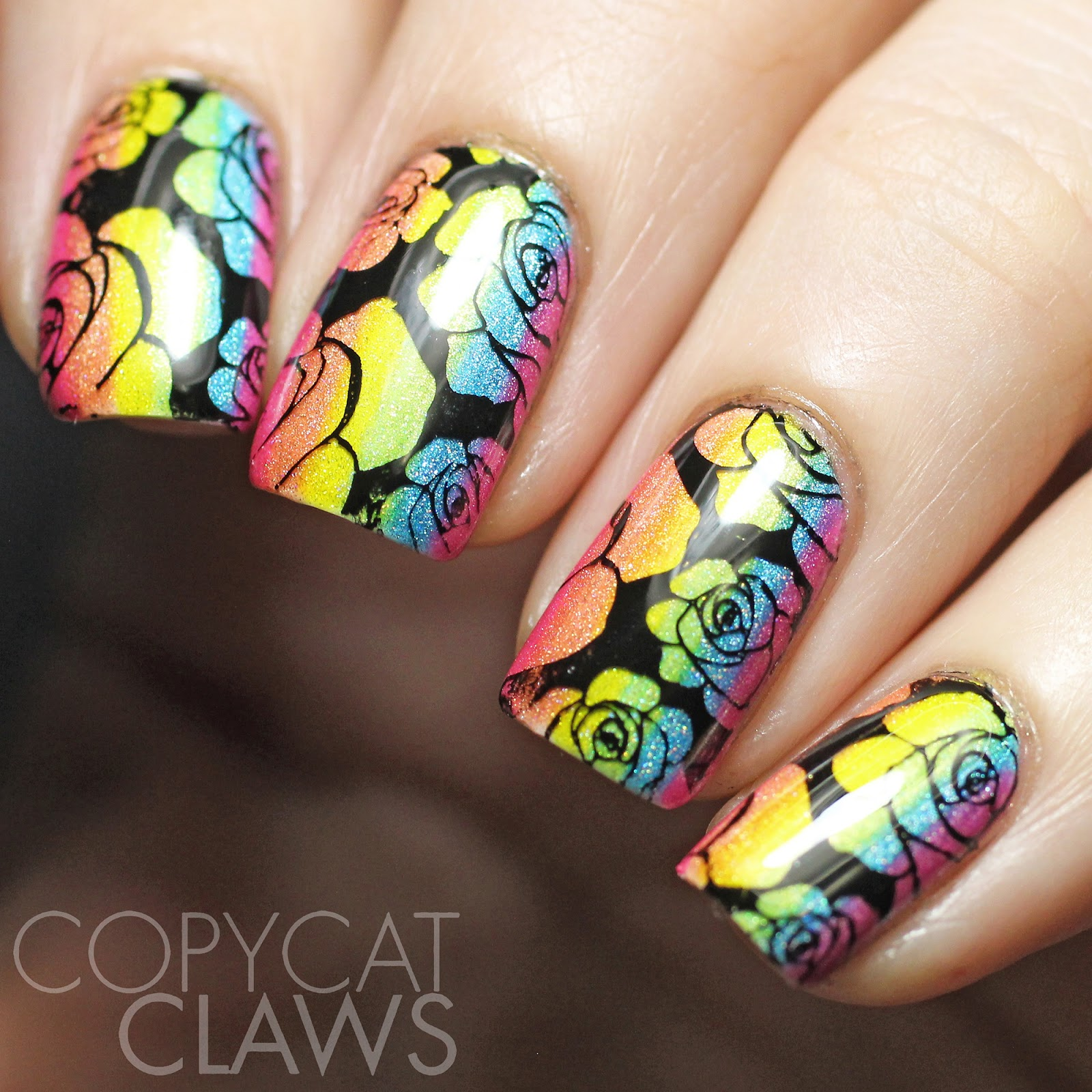 Copycat Claws: Sunday Stamping - Neon Rainbow Roses
