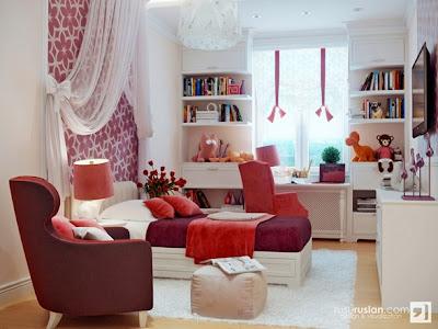 dormitorio rojo y blanco