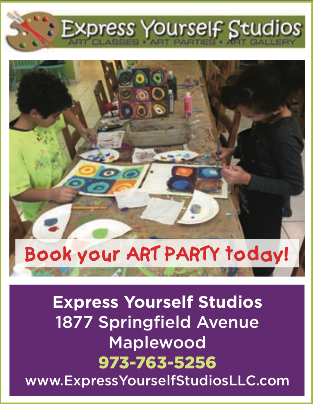 Planning a birthday party?  Make it an art party at Express Yourself Studios!