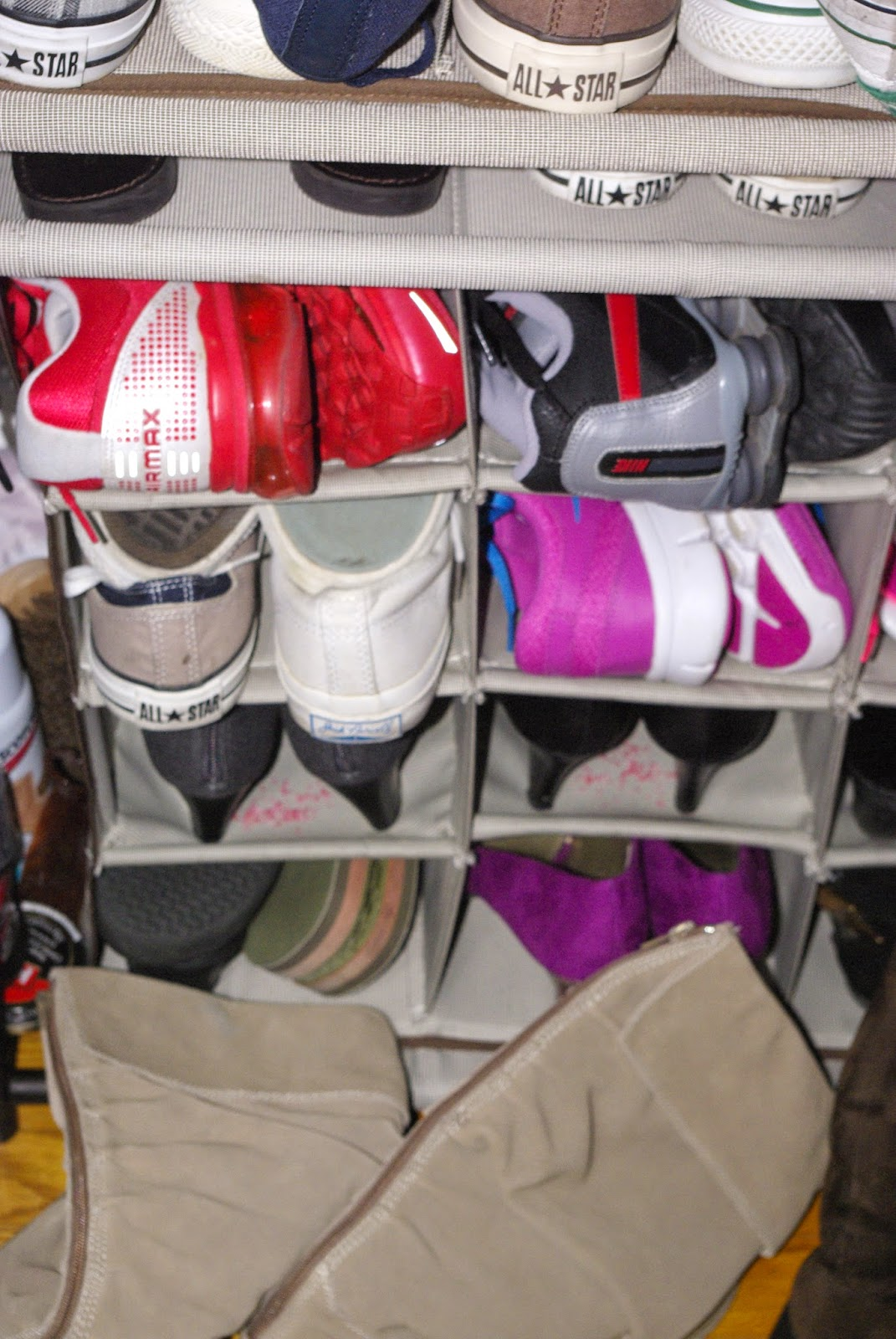 Notice the pink crystals in the shoe rack?